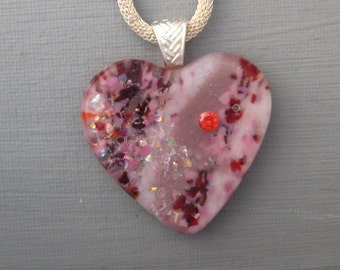 Red and Pink Heart Pendant,  Spring Heart Pendant, Fused Glass Heart Pendant,  Stone Look Glass Pendant - Cubic Zirconia Jewelry