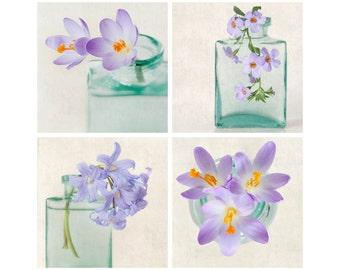 Purple Flowers Photo Print Set, Botanical Art Prints, Flower Photography Prints, Botanical Wall Art, Fine Art Photos, Wall Decor, Set of 4