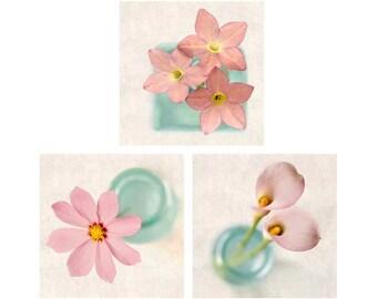 Pink Flower Print Set, Botanical Print Set, Pink Decor, Photography Set, Pink Photos, Set of 3 Prints