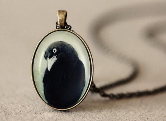 Raven Pendant, Gothic Jewelry, Photo Pendant, Raven Jewelry, Crow Necklace, Crow Jewelry, Raven Necklace, Crow Pendant, Gothic Necklace