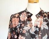 vintage bohemian tent top / trapeze blouse / jacobean floral print / button front / Black Sky Blue Mocha Rose / ilgwu / semi sheer S M