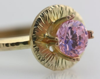 pink and gold hammered round halo ring
