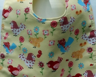 Whimsical Birds and Flowers Toddler/Baby Bib