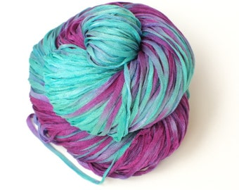 Cotton Candy, Hand Painted, Hand Dyed, Ribbon ,Yarn