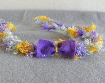 Baby headband halo tie back crochet yellow grey purple felt bow photography photo prop newborn toddler girl textured