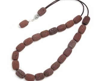 Worry Beads Komboloi - Red Santorini Lava Rock & Silver - Barrel