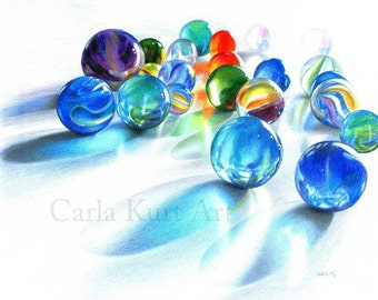 Blue Marble Reflection Signed Print by Carla Kurt