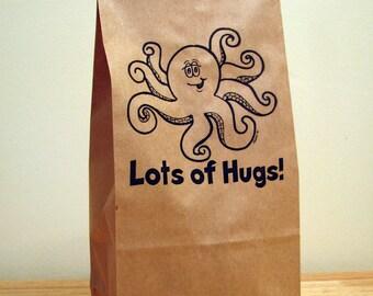 5-LOTS OF HUGS-Octopus Party Bags,kids lunch,brown bags,paper bags,lunch bags,food storage,snack bag,gift bag,party favor,kraft paper bag