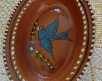 Vintage Mexican Red Clay Handpainted Bird Bowl