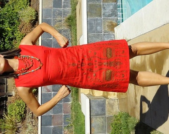 Vintage 60s Red Screen Print Dress The Bagshaws of St Lucia B38
