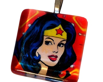 Square Wonder Woman Pendant
