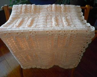 Soft Peach Crocheted Baby Afghan