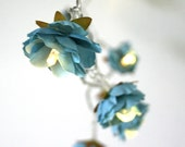 Deep Turquoise Rambling Rose Fairy Lights Flower Fairy String Lighting Home Decor