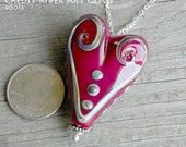 Julie Nordine . Large Hole European Style Handmade Art Glass Heart Bead 12 . Sterling Lined . Copper . Lampwork . SRA