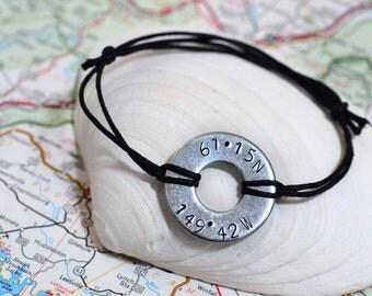 Custom Metal Stamped Latitude/Longitude Bracelet - Military / Long Distance Relationship / Deployment