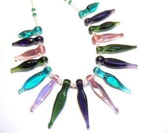 Spike artisan necklace lampwork glass bead, handmade aqua, green, purple lampwork jewelry, lamp work art beads, SRAJD art glass accessory