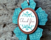 Thank you..set of 8 tags, juniper, brown and white ...flower tag