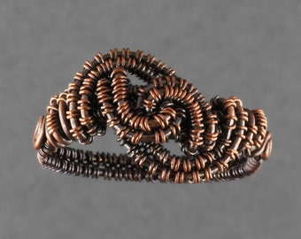 Copper Woven Freeform Ring 3 - Size 8
