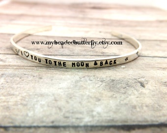 personalized bracelet - hand stamped cuff bracelet-personalized cuff -tiny cuff-I love you to the moon and back-sterling silver bracelet