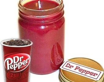 Dr Pepper Mason Jar Candle Soda Pop Scent 12 Oz Handmade