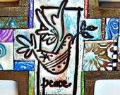 Peace Dove Polymer Clay Tile Cross MCR0003-15