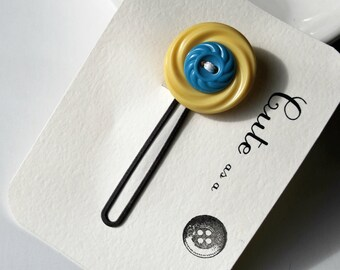 Cute as a Button--Pale Yellow and Blue Vintage Button Hair Pin