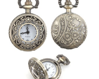 Antique Brass Pocket Watch Locket with Floral Design - 1 Locket 27mm - 0050OXBBR