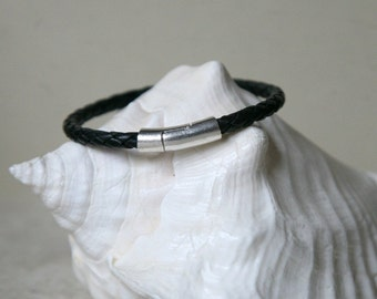 Men's Black Braided Leather Bracelet Tubular Silver Magnetic Clasp