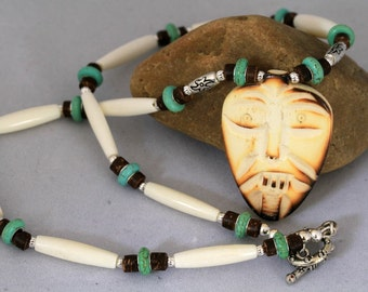 Men's Bone, Wood and Turquoise Tiki Mask Necklace, Masculine Jewelry, Father's Day, Men's Bone Necklace,