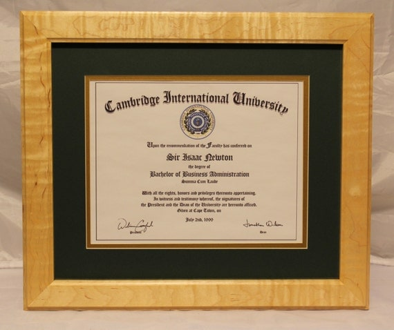 diploma frame solid curly maple fade resistant glass uv