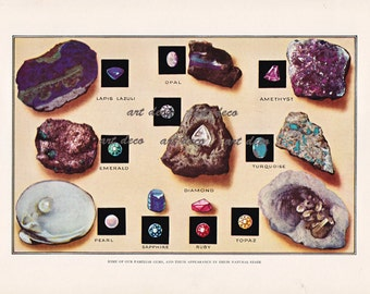 gemstones print, 'Our Familiar Gems and Their Appearance in Their Natural State', printable digital image no. 600