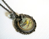 Gray Bird Pewter Filigree Pendant Photo Charm Necklace