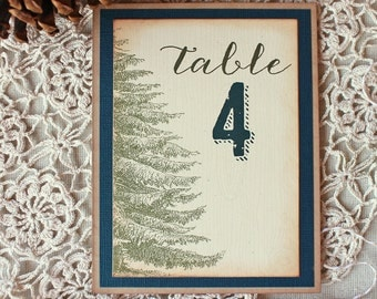 Rustic Pine Tree Wedding Reception Table Numbers Woodland Wedding