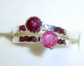 Ring - Feminine Natural genuine Ruby - 1/3 ct, conflict free  eco-friendly sterling silver - Custom Made in your Size bezel or prongs 1 ring