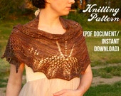 Cicada Shawl Knitting Pattern - - scarf / shawlette PDF document / instant digital download