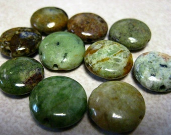 SALE  Snake Agate Coin Beads