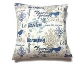 Decorative Pillow Cover Denim Blue White Taupe Bird Butterfly Script Toss Accent Throw 16 x16 inch x