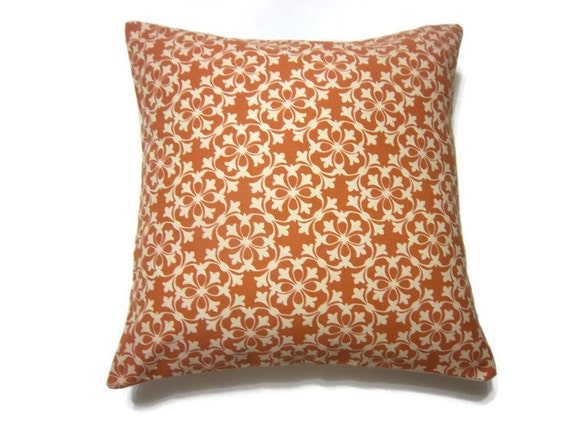 RESERVED Decorative Pillow Cover Tangerine Orange White Handmade Damask Toss Throw Accent Cover 16 inch