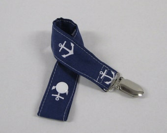 Pacifier - Toy - Soothie - Binky - Clip - White Anchors on Navy Blue
