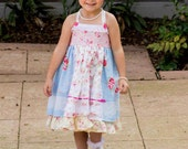 Girls Birthday Easter tea party flower girl shabby chic Custom Twirl Dress Size 2T to 12 years - Country Rose blue