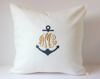 MONOGRAM ANCHOR Decorative Pillow Cover 18 X 18. Home Decor Throw Pillow. Nautical Boat Beach Home Decor. Christian Gift. Sorority. Roommate