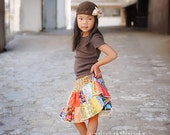 """The """"MUST HAVE"""" twirl skirt - 2 tiers of fall colors patchwork squares - 2t-6y"""