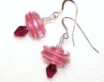 Garnet Swirls - pink glass beaded lampwork and garnet earrings - dangle earrings - drop earrings