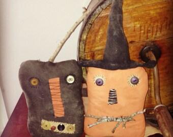 Primitive Halloween Smiley and Jack