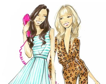 Fashion Illustration-Fashion Print-Fashion Illustrator-Brooke Hagel-Costume Sketches- Lauren and Ari-For A Good Time Call...