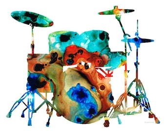 Drums Art PRINT from Painting Drum Set Rock And Roll Band Music Colorful CANVAS Ready To Hang Large Artwork Colorful Abstract Musician Gift