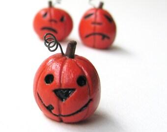 Tiny Halloween Jack-O-Lantern- Handmade Pumpkin Miniature