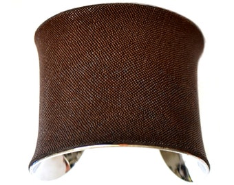 Cocoa Brown Fish Leather Silver Lined Cuff  - by UNEARTHED