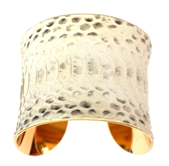Natural Snakeskin Row Cut Gold Lined Cuff Bracelet  - by UNEARTHED