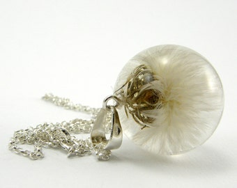 White Dandelion Pendant, Real Dandelion Necklace, Very Fluffy Dandelion Medium Resin Round with Sterling Silver Chain
